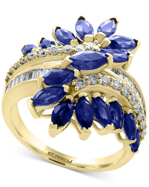 Effy Collection - Multicolor Sapphire (3-1/5 Ct. T.w.) And Diamond (3/8 Ct. T.w.) Ring In 14k White Gold (also In Tanzanite) - Lyst
