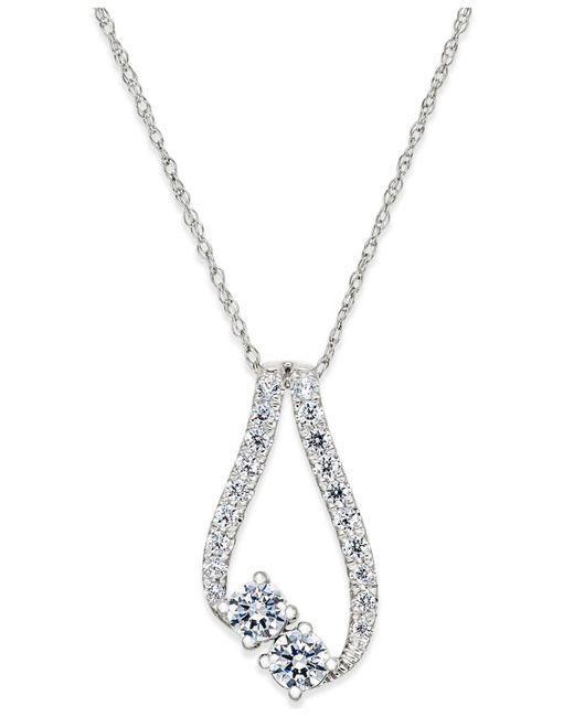 Macy's | Metallic Diamond Asymmetrical Pendant Necklace (1/2 Ct. T.w.) In 14k White Gold | Lyst