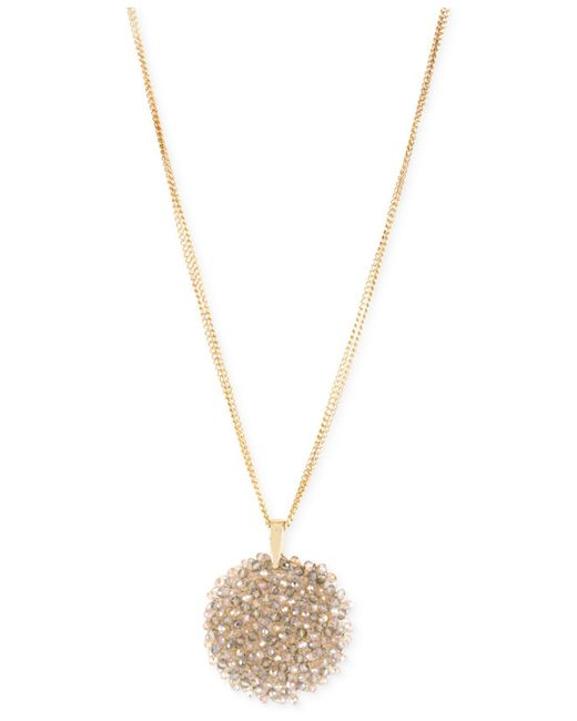 Kenneth Cole | Metallic Gold-tone Faceted Woven Bead Pendant Necklace | Lyst
