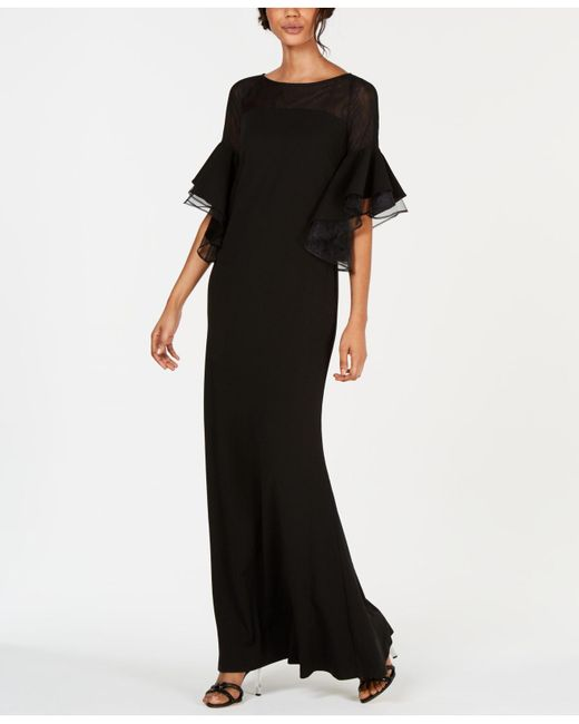 37b34a72c8d Calvin Klein - Black Tiered Bell-sleeve Illusion Gown - Lyst ...