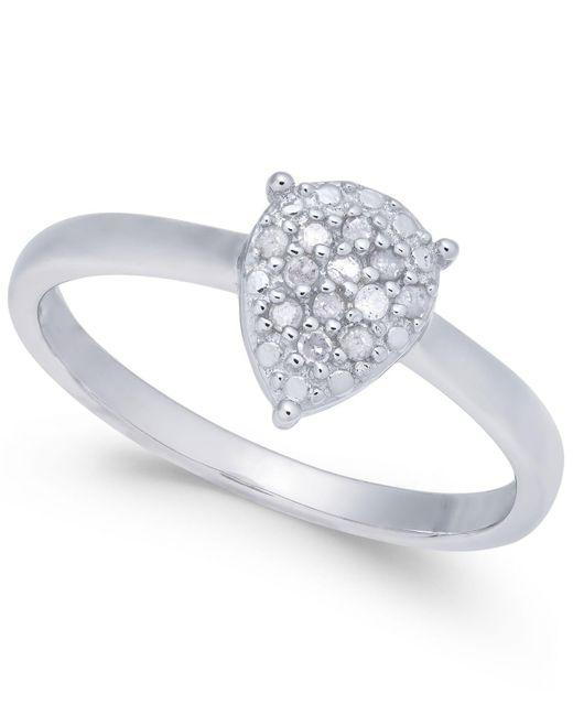 Macy's - Metallic Diamond Cluster Teardrop Ring (1/10 Ct. T.w.) In Sterling Silver - Lyst