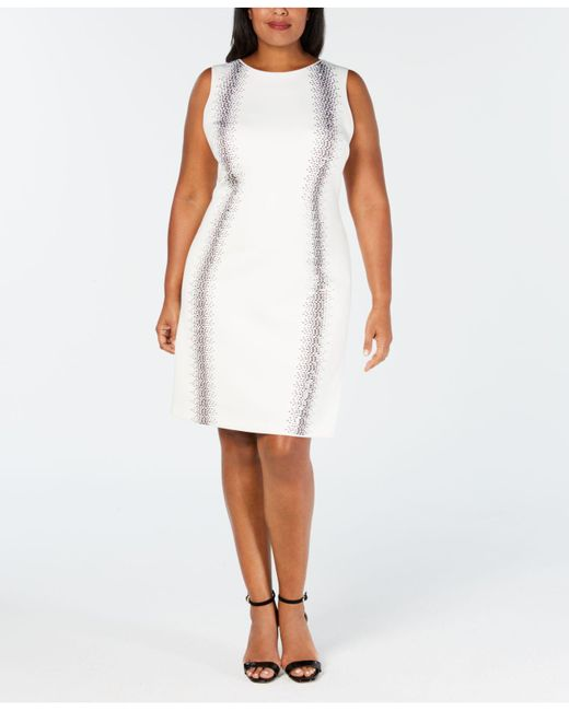 04c0fefa0fc Calvin Klein - White Plus Size Embellished Sheath Dress - Lyst ...