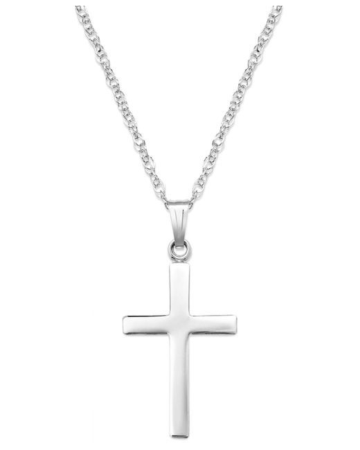 Macy's | Metallic Sterling Silver Necklace, Polished Cross Pendant | Lyst