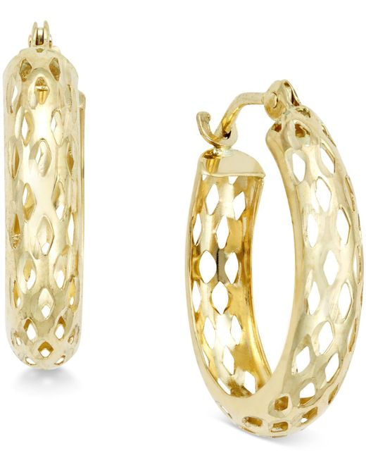 Macy's - Metallic Diamond-cut Mesh Hoop Earrings In 10k Gold - Lyst