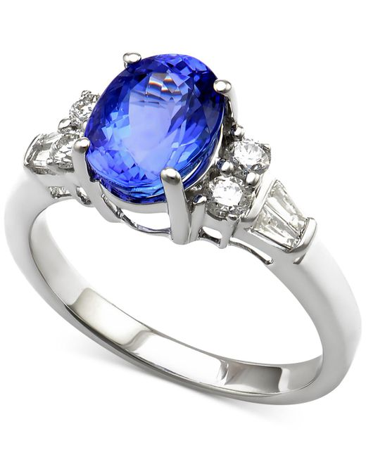 Macy's - Multicolor Tanzanite (2 Ct. T.w.) And Diamond (1/3 Ct. T.w.) Ring In 14k White Gold - Lyst