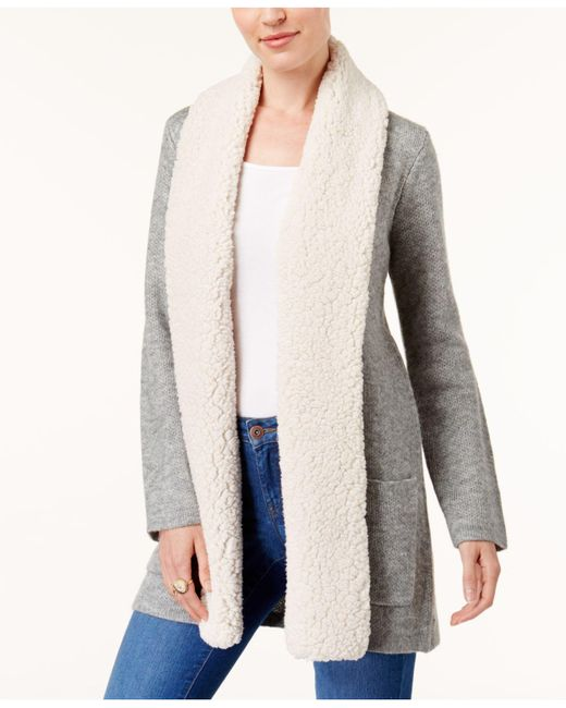 Style & Co. | Gray Faux Sherpa Collar Cardigan | Lyst