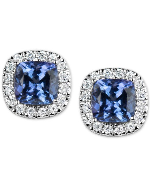 Macy's - Blue Tanzanite (1-1/5 Ct. T.w.) And Diamond (1/6 Ct. T.w.) Stud Earrings In 14k White Gold - Lyst