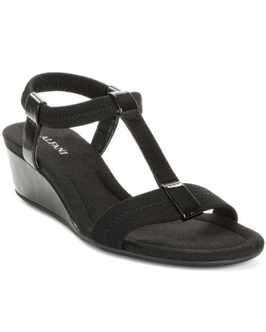 Alfani | Black Voyage Wedge Sandals | Lyst