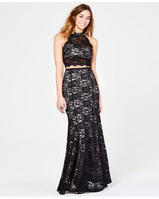 7e8837f5f71 Sequin Hearts Juniors  2-pc. Glitter Lace Gown in Black - Lyst
