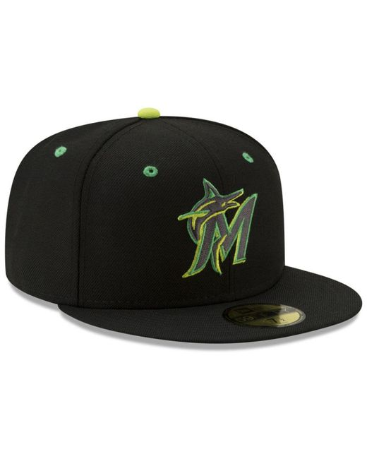 promo code 3b271 a28bc ... KTZ - Black Miami Marlins Night Moves 59fifty Fitted Cap for Men - Lyst  ...