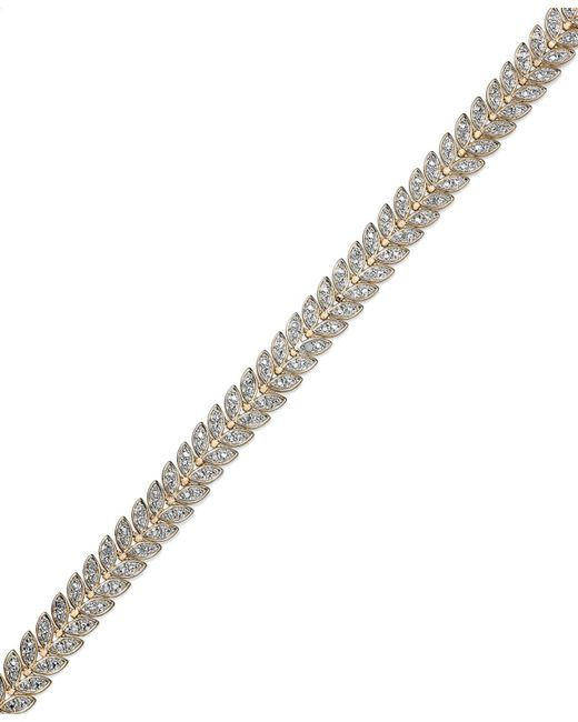Macy's - Metallic Diamond Accent Leaf Bracelet In 18k Gold Over Sterling Silver-plated Brass - Lyst