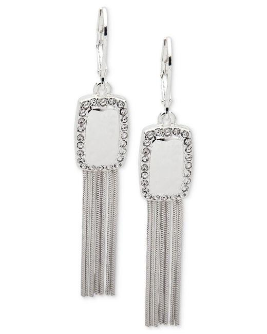 Nine West | Metallic Silver-tone Pavé Tassel Drop Earrings | Lyst