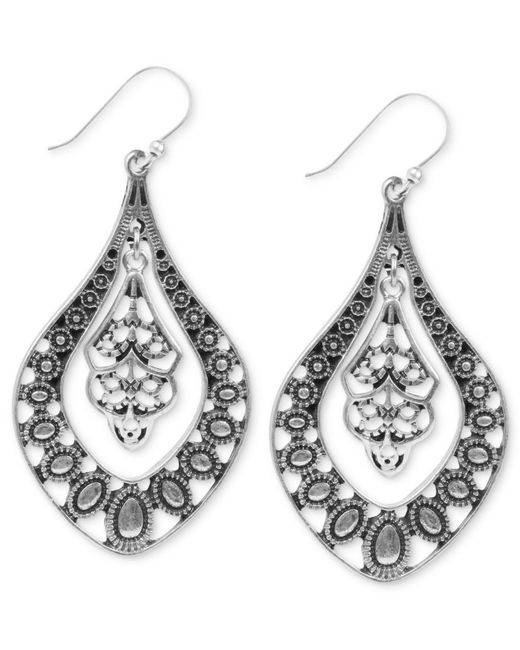 Lucky Brand | Metallic Earrings, Silver-tone Filigree Oblong Earrings | Lyst