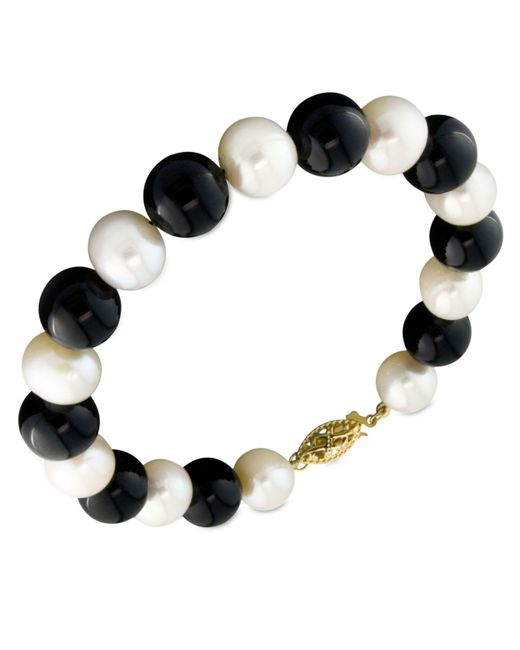 Macy's - Black Cultured Freshwater Pearl (7-1/2-8-1/2mm) And Onyx (8mm) Bracelet In 14k Gold - Lyst