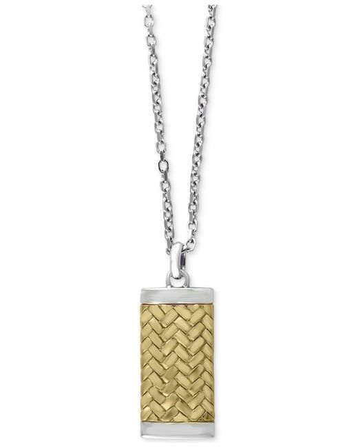 Effy Collection | Metallic Men's Two-tone Woven-look Dog Tag Pendant Necklace In Sterling Silver And 18k Gold-plated Sterling Silver for Men | Lyst