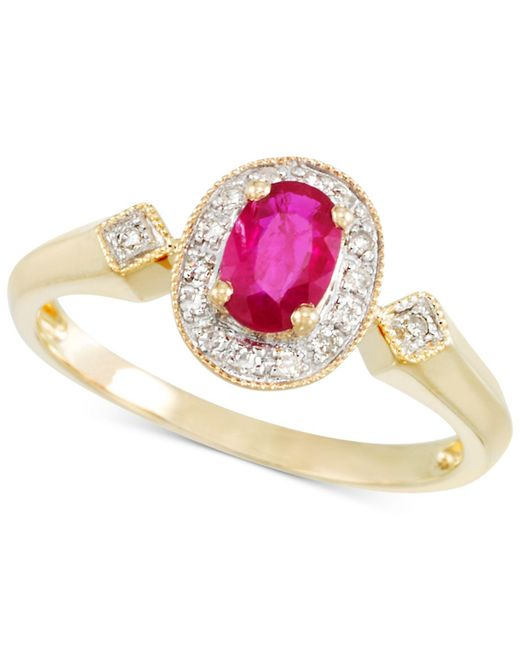 Rare Featuring Gemfields - Pink Certified Ruby (1/2 Ct. T.w.) And Diamond Accent Ring In 14k Gold - Lyst