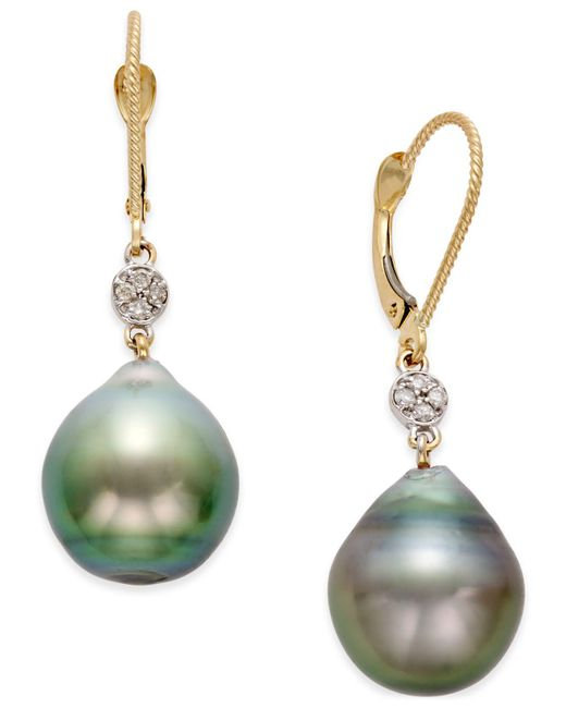 Macy's - Metallic Cultured Tahitian Pearl (12mm) And Diamond Accent Earrings In 14k Gold - Lyst