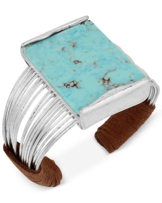 Robert Lee Morris - Metallic Silver-tone Blue Stone Suede Wrapped Cuff Bracelet - Lyst