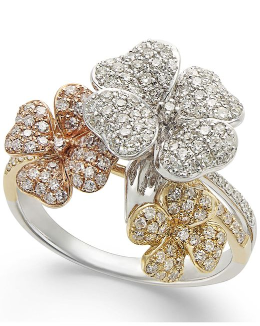 Effy Collection | Metallic Diamond Tri-tone Flower Ring In 14k Gold (5/8 Ct. T.w.) | Lyst