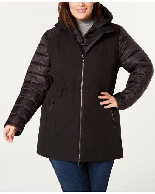 Calvin Klein - Black Performance Plus Size Hooded Jacket - Lyst