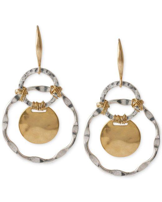 Robert Lee Morris - Metallic Two-tone Wire-wrapped Orbital Circle Drop Earrings - Lyst