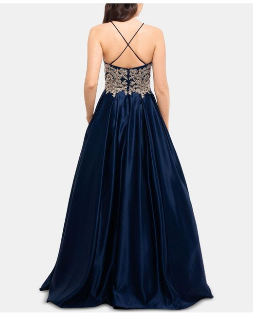 78efa1e1c1f5 ... Betsy & Adam - Blue Embellished-appliqué Gown - Lyst