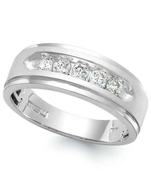 Macy's - Men's Five-stone Diamond Ring In 10k White Gold (1/4 Ct. T.w.) for Men - Lyst