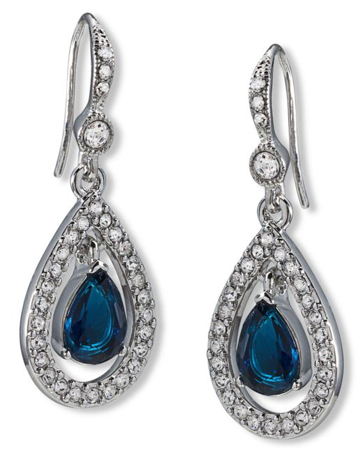 Carolee - Blue Earrings, Silver-tone Pave Stone Drop Earrings - Lyst