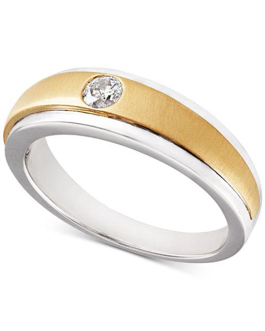 Macy's - Metallic Diamond Two-tone Ring (1/6 Ct. T.w.) In 10k Gold & White Gold - Lyst