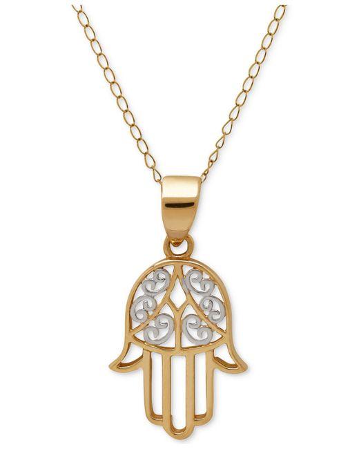 Macy's | Metallic Two-tone Hamsa Pendant Necklace In 10k Gold | Lyst