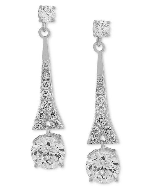 Carolee   Metallic Earrings, Silver-tone Cubic Zirconia Linear Drop Earrings (9-3/4 Ct. T.w.)   Lyst