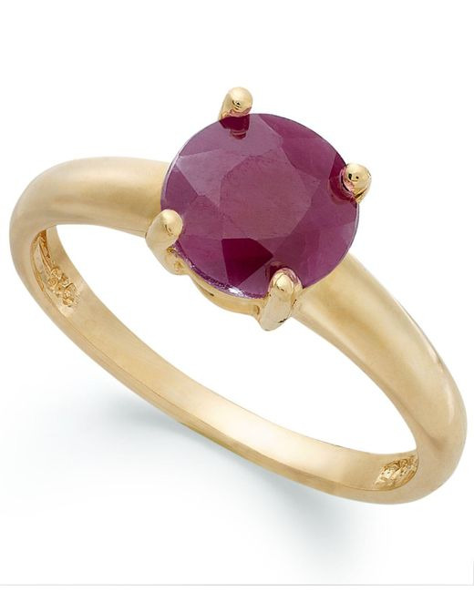 Macy's | Metallic 18k Gold Over Sterling Silver Ring, Ruby July Birthstone Ring (1-5/8 Ct. T.w.) | Lyst