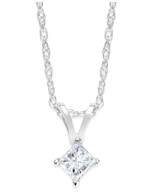 Macy's - Princess-cut Diamond Pendant Necklace In 10k White Gold (1/5 Ct. T.w.) - Lyst