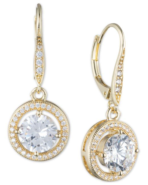 Anne Klein - Metallic Round Crystal And Pavé Drop Earrings - Lyst