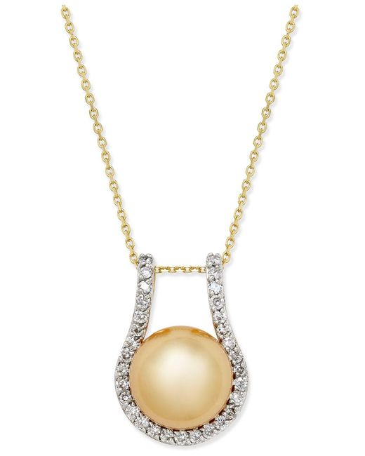 Macy's - Metallic Cultured Golden South Sea Pearl (12mm) And Diamond (5/8 Ct. T.w.) Pendant Necklace In 14k Gold - Lyst