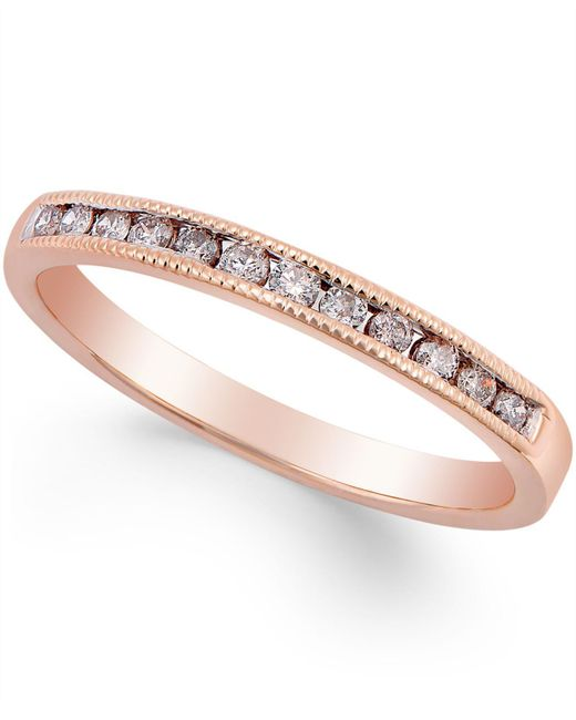 Macy's | Metallic Diamond Band Ring (1/5 Ct. T.w.) In 10k Rose Gold | Lyst