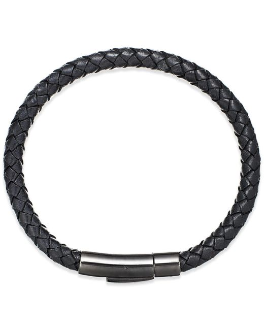 Macy's - Black Men's Woven Leather Bracelet In Stainless Steel for Men - Lyst