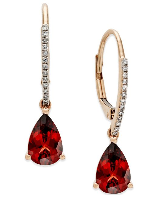 Macy's - Metallic Garnet (2-1/2 Ct. T.w.) And Diamond Accent Drop Earrings In 14k Rose Gold - Lyst