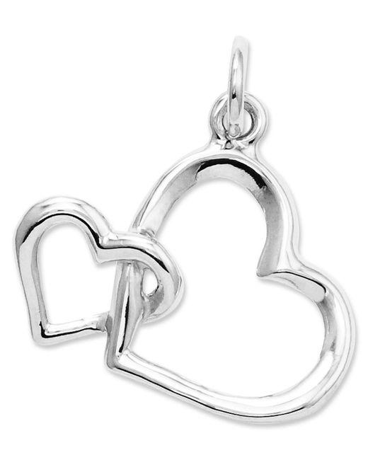 Macy's | 14k White Gold Charm, Double Heart Charm | Lyst