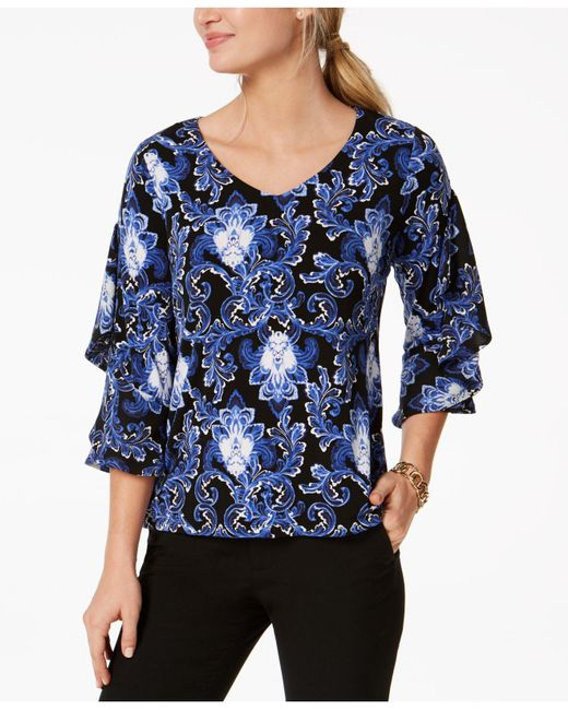 Charter Club - Blue Petite Printed Ruffle-sleeve Top, Created For Macy's - Lyst