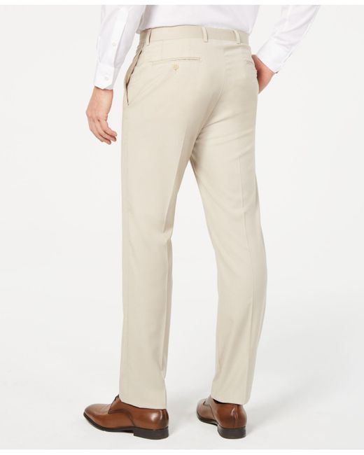 f1b98eabe7 ... Calvin Klein - Natural Slim-fit Performance Stretch Wrinkle-resistant Solid  Dress Pants for ...