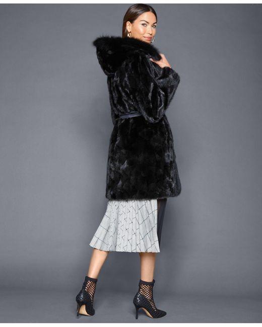 11c1201251b ... The Fur Vault - Black Reversible Mink Fox-trim Coat - Lyst ...