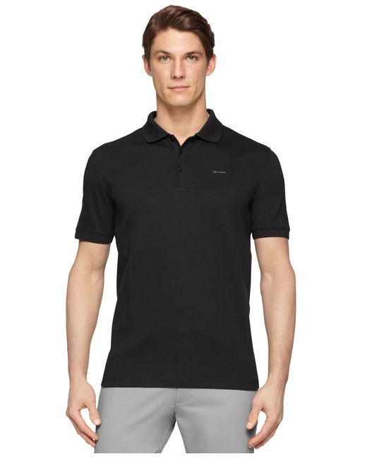 Calvin klein Men's Interlock Liquid Cotton Polo in Gray ...