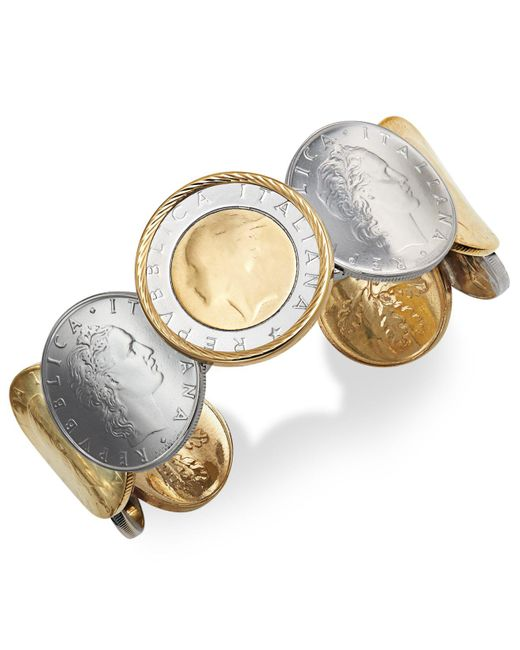 Macy's - Metallic Lira Coin Cuff Bracelet In 14k Gold Vermeil And Sterling Silver - Lyst