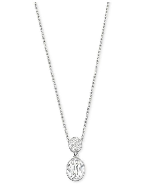 Swarovski | Metallic Necklace, Rhodium-plated Oval Crystal Pave Disc Pendant Necklace | Lyst