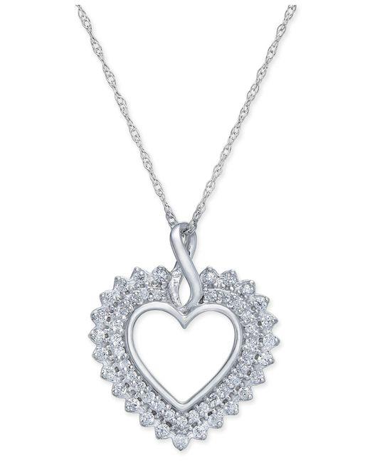 Macy's - Metallic Diamond Heart Pendant Necklace (1/4 Ct. T.w.) In 14k White Gold - Lyst
