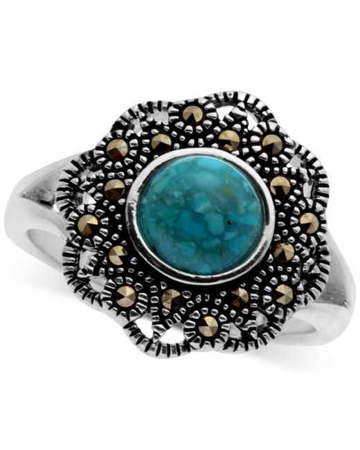 Macy's - Metallic Marcasite And Manufactured Turquoise Filigree Ring In Fine Silver-plate - Lyst