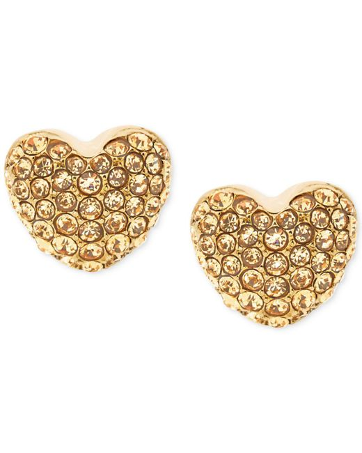 Michael Kors | Metallic Pavé Heart Stud Earrings | Lyst