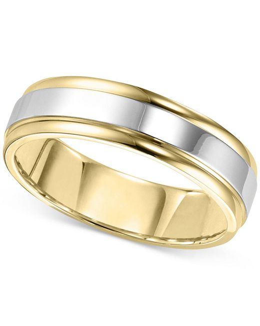 Macy's - Metallic Men's Two-tone Band In 14k Gold & White Gold for Men - Lyst