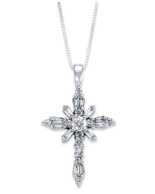 Macy's - Diamond Baguette Cross Pendant Necklace In 14k White Gold (1/2 Ct. T.w.) - Lyst